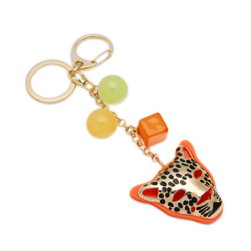 Metal Tiger Jewelry Keychain For Handbag Beads Chain Keyring